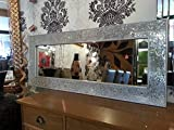 Other Crackle Mosaik Glas Silber Rahmen Wandspiegel voller Länge 120x 50cm