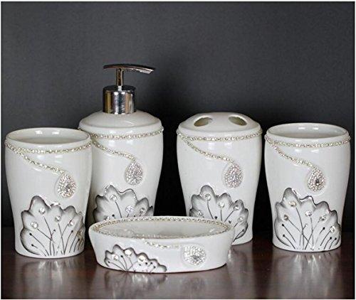cinq-jeux-daccessoires-de-salle-de-bains-en-cramique-ensembles-bouteille-dmulsion-porte-brosse-dents