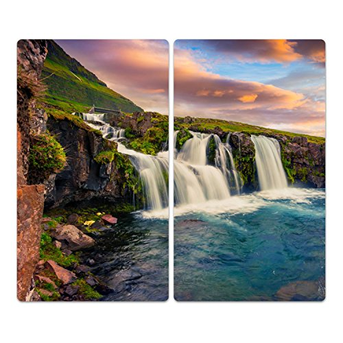 Insel Schneidebrett (DekoGlas Herdabdeckplatten Set inkl. Noppen aus Glas 'Kirkjufell Berg', Herd Ceranfeld Abdeckung, 2-teilig universal 2X 52x30 cm)