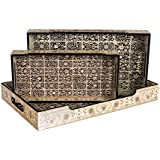 Designer MDF Wooden Serving Trays Set With Handle | Set Of 3 Tray With Handle | Black Flower Design With Special Enamel Coating - Multicolor