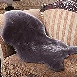 Super weiches Kunstfell Fake Pelz Sofa Couch Casper Vanity Stuhl Bezug Teppich waschbar Teppich Matte Rutschfeste flauschig Teppich Mats Bett Spread Stuhl Bezug flauschig, grau, Free Size