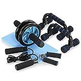 TOMSHOO 5-in-1 Fitness Workout Set - AB Abdominal Roller Wheel +2 Push-up Handles + Springtouw + Handgrijper + Fitnessmat voor mannen/vrouwen Fitness