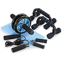 TOMSHOO Soporte para Flexiones AB Wheel Roller Wheel Kit de Ejercicio Cuerda de Salto Fortalecedor de Mano y Rodilla Mat para Ejercicios en Casa o Gimnasio