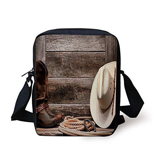 Western,Authentic American Rodeo Items Lasso Hat Boots Horseshoe Rustic Wooden House Decorative,Brown Cream Tan Print Kids Crossbody Messenger Bag Purse -