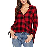 BHYDRY Frauen Langarm Plaid Print Sweatshirt Pullover Tops Bluse Shirt(L,Rot)