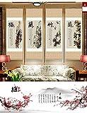 HZARTS Peinture de Soie Salon décoration Quadruple Peinture canapé Fond Peinture Meilan Bambou chrysanthème Rouleau Peinture,A,45 * 140