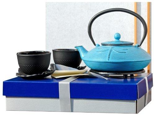 Boîte cadeau M - en fonte Bleu clair Motif libellule Ensemble à thé sy1 - Théière, dessous de plat rond & Feuille Cups x2