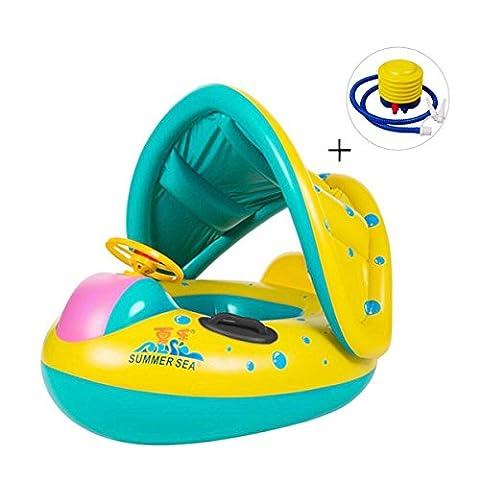 Baby Schwimmbecken,Omont aufblasbare PVC-Baby-Schwimmen-Ring für das Alter 6-36 Monate mit Luftpumpe