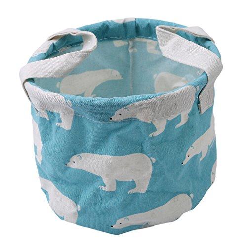 HENGSONG Praktische Runde Aufbewahrungsbox Korb Kosmetik Koffer Make-up Tasche Spielzeug Ablagebox Desktop Organizer für Haus Kinderzimmer Büro Aufbewahrung (Blau Bär)