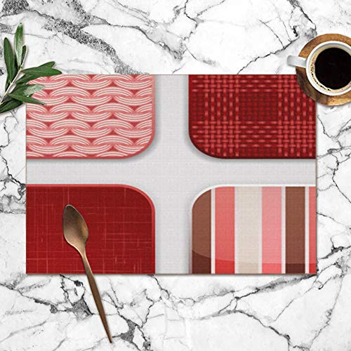 best gift Red Textile Squares Abstract Fabric Washable Placemats for Dining Table Double Fabric Printing Polyester Place Mats for Kitchen Table Set of 6 Table Mat 12