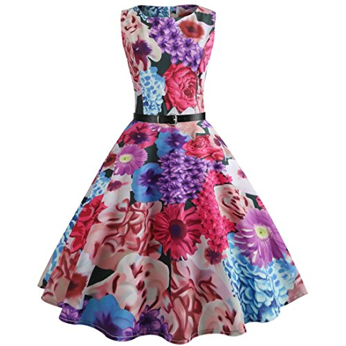VEMOW Heißer Verkauf Elegante Damen Mädchen Frauen Vintage Bodycon Sleeveless Beiläufige Abendgesellschaft Tanz Prom Swing Plissee Retro Kleider(Hot Pink 1, EU-42/CN-XXL)