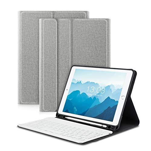 CoastaCloud Hülle für iPad 9.7 Zoll 2018/2017 / Pro 9.7 / Air 2 / Air 1 mit Stifthalter Schutzhülle Ständer mit Deutscher Bluethooth Tastatur QWERTZ Drahtlos Abnehmbar Weiß (Grau)