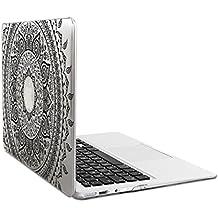 kwmobile Funda de cristal para Apple MacBook Air 13(a partir de mediados de 2011) Case protector duro para laptop - Carcasa delgada y transparente Diseño sol indio en negro transparente