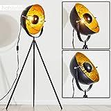 Lampada da Terra Design Moderno Modello Saturn- Treppiede Stile Contemporaneo Industriale Color Nero e Oro- Piantana Ideale per Salotto e Camera da Letto