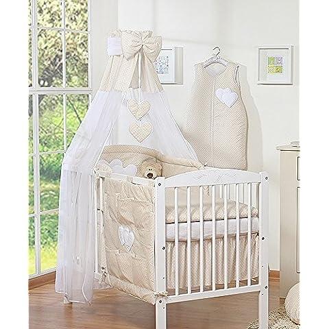 Dosel de cama infantil, con franja, color beige con diseño de corazones y lunares