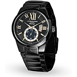 Designer Anthony James Vintage Black & Gold Men's Smart Dress Watch Calendar Black Stainless Steel Metal Links Strap Precise Quartz Wrist Watches