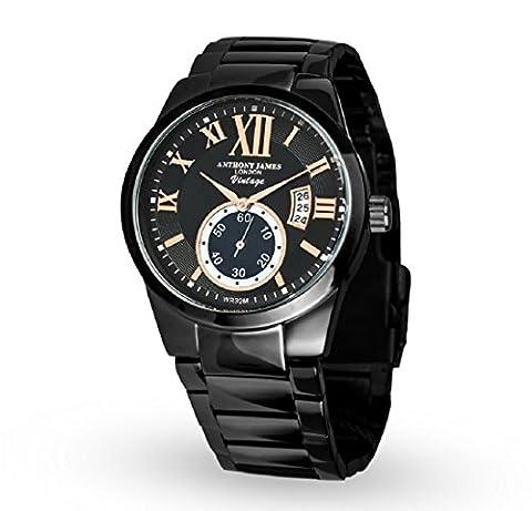 Anthony James Vintage Black Herren-Armbanduhr - Smart, Durable Design für den modernen Mann mit Black Metal Case, Metal Wrist Band und Lifetime Herstellers (Chronograph Metal-band)