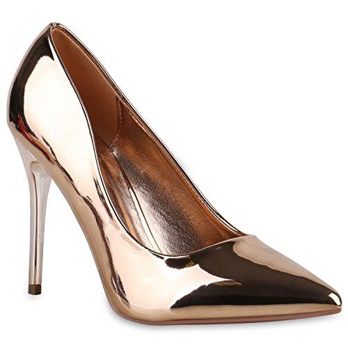 Spitze Damen Pumps High Heels Stilettos Lack Party Schuhe 128756 Bronze 36 Flandell - Bronze Pumps Heels