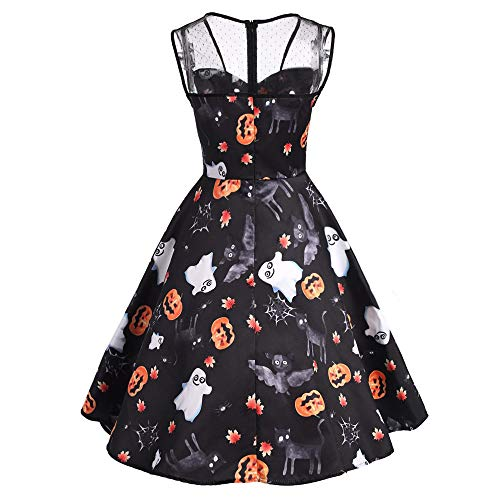 MIRRAY Damen Halloween Mesh Patchwork gedruckt Vintage-Kleid Sleeveless Party Kleid