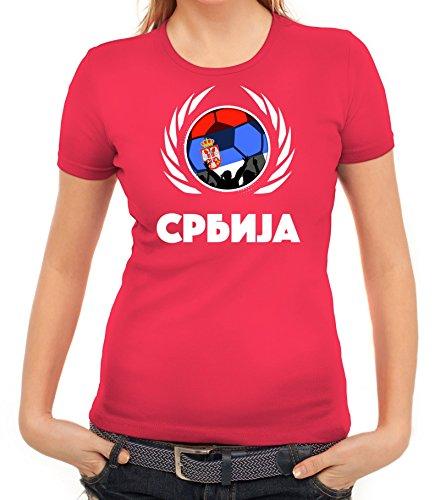 ShirtStreet Serbia Wappen Soccer Fussball WM Fanfest Gruppen Fan Wappen Damen T-Shirt Fußball Serbien Pink