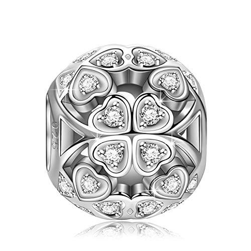 NINAQUEEN Pandora Charms angepasste Charm Geschenke für Frauen Vierblättriges Kleeblatt Silber 925 Zirkonia Emaille Schmuck Damen mit Schmuckkästchen Damen Geschenke für Mama✿