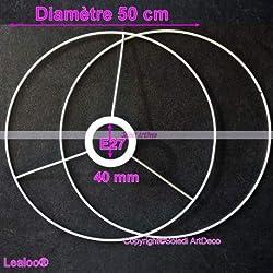 Lealoo Set d'Ossature Diamètre 50cm pour Abat-Jour, Grands Anneaux Ronds Epoxy Blanc, pour Douille diam 40mm E27