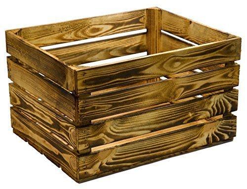 Kistenkolli Altes Land flambierte/geflammte massive Obstkisten als Ragal oder klassisch ca 49 x 42 x 31 cm/Apfelkisten Weinkisten aus dem Alten Land (1 Stück geflammt)