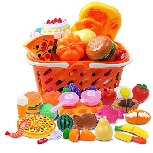 DigHeath 34 Stück Kinder Küchenspielzeug, Schneiden Lebensmittel Obst Gemüse Spielzeug, Lebensmittel Spielzeug Set mit Korb, Pädagogisches Lernen Spielzeug Rollenspiele