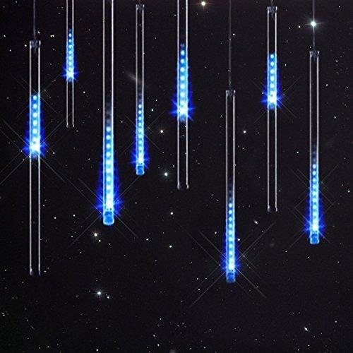 Keeda Meteor Dusche Solar Lichterkette, 30cm 10tube 360LED, wasserdicht Falling Rain Drop Licht, Outdoor Weihnachten Dekorative Beleuchtung Beleuchtung blau (Stern-polig)