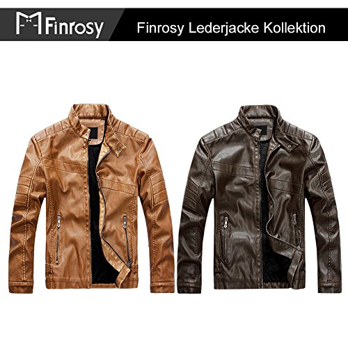 Finrosy Lederjacke Herren Biker Motorrad Kunstleder Jacke Stehkragen Tailliert Slim Fit Zipper Gesteppt (2XL, Braun) - 3