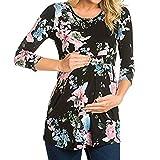 ZYUEER Umstandsmode Damen Sommer Umstandsmode Frauen Tshirt Schwangerschafts-T-Shirt mit Rüschenblumen-Blumenmotiven Schwangerschaftshose Umstandsnachthemd Umstandskleid (XL, Schwarz)