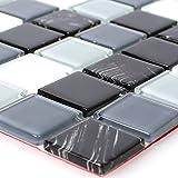 Selbstklebendes Glasmosaik Schwarz Grau