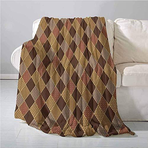 SHCNB Picknickdecke/Picknickdecke im Patchwork-Stil, klassisch, altmodisch, Blumenmuster, 152,4 x 127 cm, Braun/Hellbraun/Zimt
