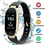 Montre Connectée Sport Fitness Tracker d'Activité Montre Étanche IP67 Bracelet Intelligent Podomètre Calories Sommeil-pour Femme Homme Sport/Android et iOS Portable (Noir)