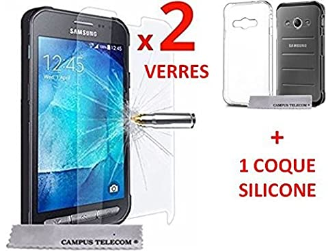 Samsung Galaxy Xcover 3 g388f 2 Films Vitre Verre Trempé protection xcover3 + 1 coque gel silicone x cover 3 by Campus Telecom®