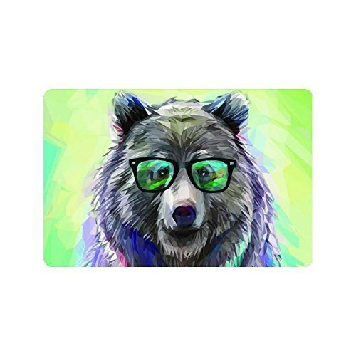 tgyew Cushion Cool Low Poly Hipster Bear Black Frame Glasses Funny Cute Animal Home Decorations Rug Rectangle Size 18x30,Multi-Function Indoor Outdoor Beautiful Doormat