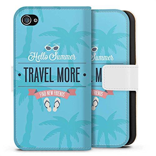 Apple iPhone X Silikon Hülle Case Schutzhülle Sommer Reisen Urlaub Sideflip Tasche weiß