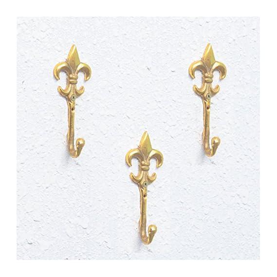 Casa ecor Set Of 3 Fleur De Lis Wall Hooks Hanging Clothes Hat Coat Robe Hangers Metal Single Hook Door Hook