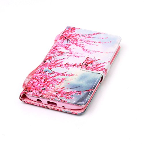 Feeltech LG K8 Hülle,LG K8 Magnet Leder Wallet Cover,Elegant Soft PU Kartenfach Extra Dünn Tasche Bunte Relife-Muster [Stand Funktion] Karte Halterung Klapp hülle Flip Book Design Case Flexible TPU Ul Zwetschge Blüte