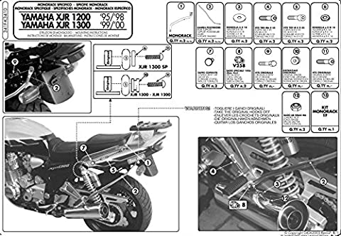 Givi Support Top Case Monokey ou Monolock Valise Yamaha XJR 1200 (95>98)/XJR 1300 (98 > 02)