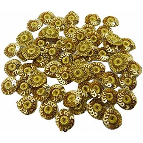 Dibujo Patrones apliques florales de oro metálico de vestido bordado Parche 12 Piezas