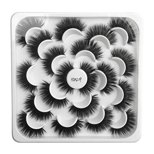kashyk 10pair Lotus mit 5D Nerz falsche Wimpern, natürliche Wimpern, Make-up, Wilde Wimpern (Rote Falsche Wimpern)