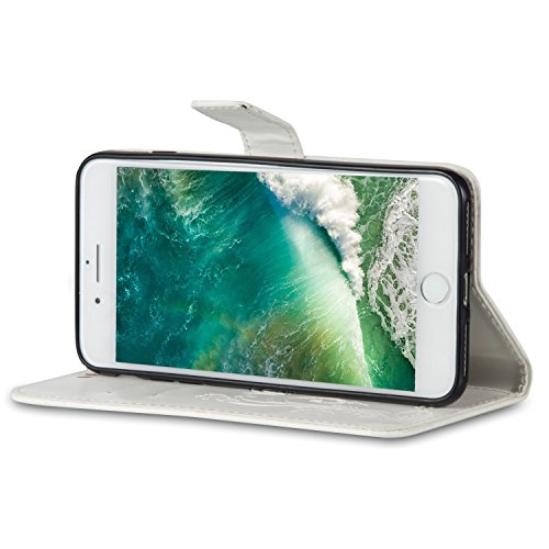 JIALUN-Telefon Fall Mit Card Slot, Lanyard, Druck Schöne Muster Mode Open Handy Shell Für IPhone7 Plus ( Color : Light Brown , Size : IPhone 7 Plus ) White