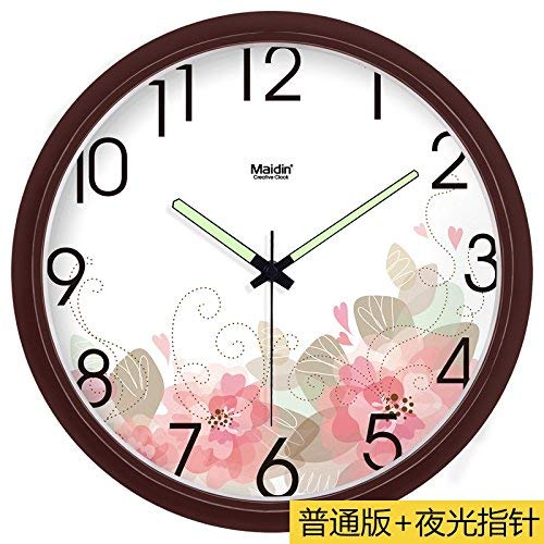 Wanduhr stille Bewegung Wanduhr Home Office Dekor für Wohnzimmer Schlafzimmer und Küchenuhr Wand stumm Digital Wanduhr Kunst Quarz Clock13 in grün rosa -268 (Farbe : Brown -268, Größe : 13 In.) (Rosa Und Grüne-wand-dekor)