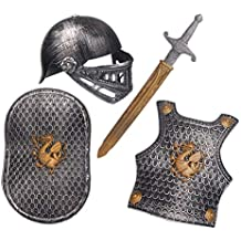 Lvbeis Child Armadura Caballero Medieval-Casco,Espada,Escudo,Coraza para Niños