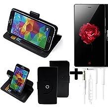 TOP SET: 360° Funda Smartphone para ZTE Nubia Z9 Max, negro + Auriculares | Función de stand Caso Monedero BookStyle mejor precio, mejor funcionamiento - K-S-Trade | Funda Universal Caso Monedero cubierta del tirón Monedero Monedero