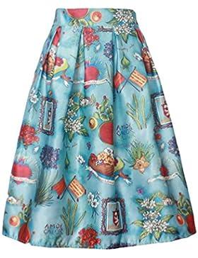 ZKOO Verano De Flores Rojo Del Vintage Impreso Completo Plisadas Alta Cintura De Las Mujeres Faldas Midi