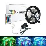 ALED LIGHT® Striscia LED 5M RGB 300 LED 3528 SMD LED Strip Con 2A 12V Adattatore di Alimentazione+ 24 Tasti Telecomando+ Ricevitore+ Istruzioni.(Non impermeabile)