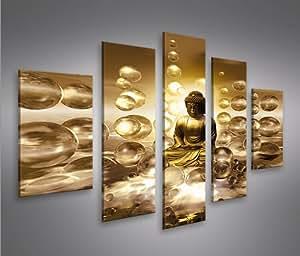 Bouddha V2 MF 5 Tableaux sur toile - Image Tableau pour la mur - prêts à poser