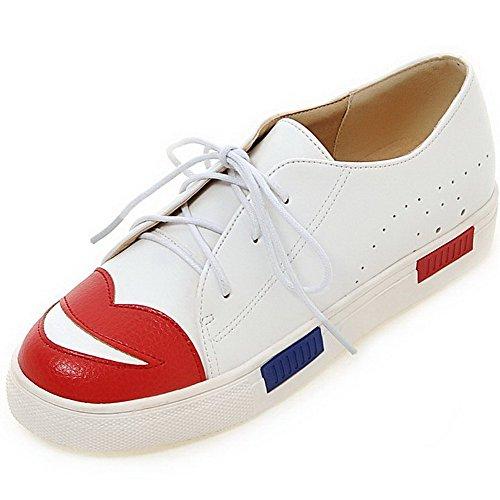 AllhqFashion Femme Rond Matière Souple Couleurs Mélangées Lacet Chaussures Légeres Blanc